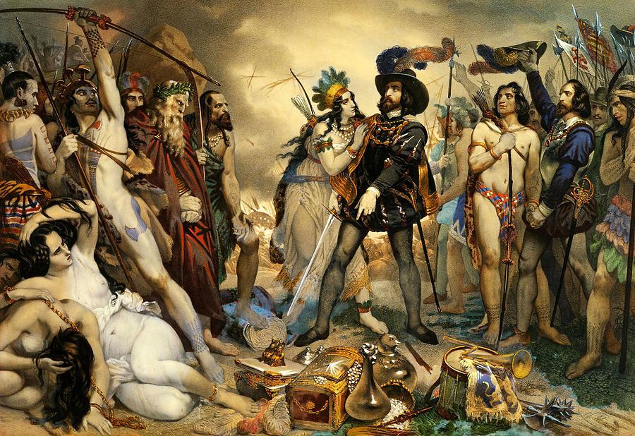 Hernán Cortés aliado con indígenas contra los aztecas.